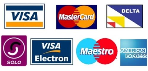 We accept all major european Credit and Debit Cards