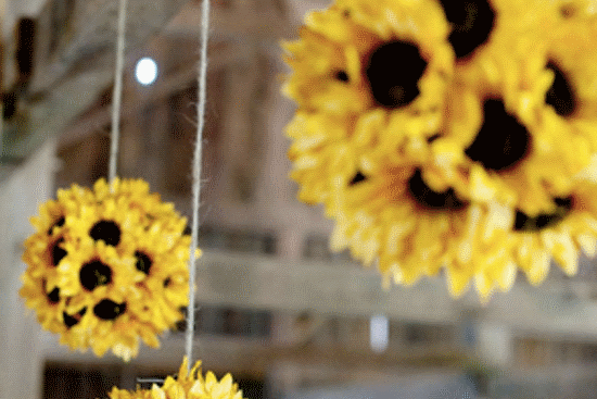 Marquee sunflower decorations