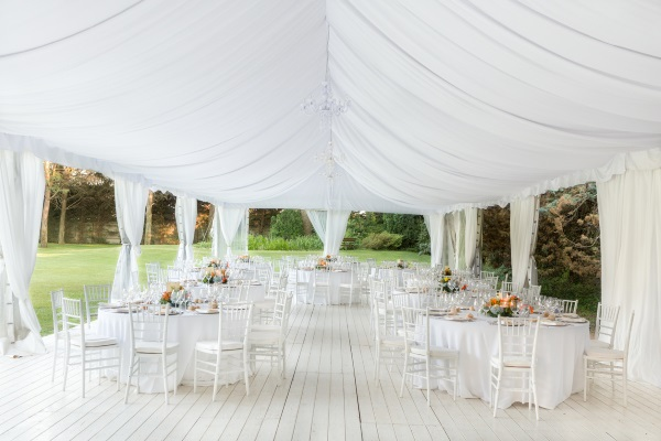Wedding marquee with lining
