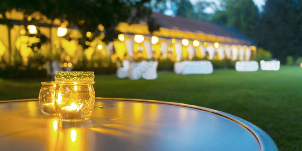 Wedding marquee reception