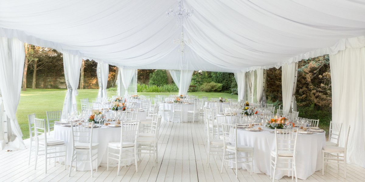 Wedding reception marquee with luxury lining